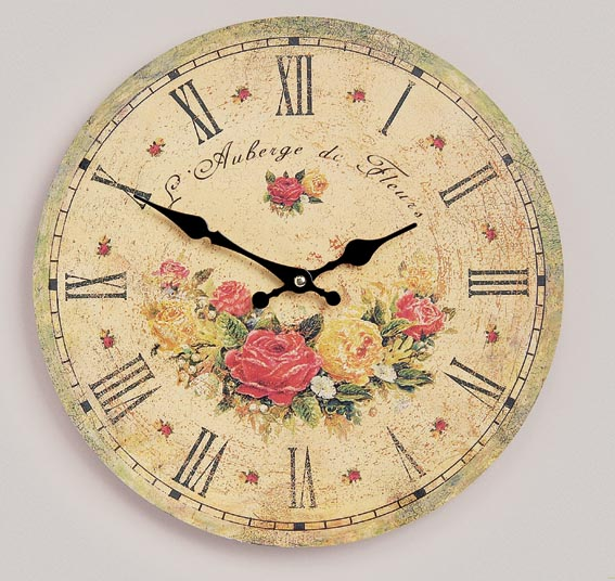 wanduhr landhausstil rosenmotiv bunt vogtland souvenir s. Black Bedroom Furniture Sets. Home Design Ideas