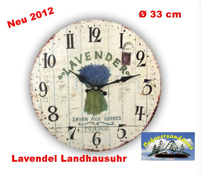 wanduhr shabby chic landhausstil lavendel vogtland. Black Bedroom Furniture Sets. Home Design Ideas