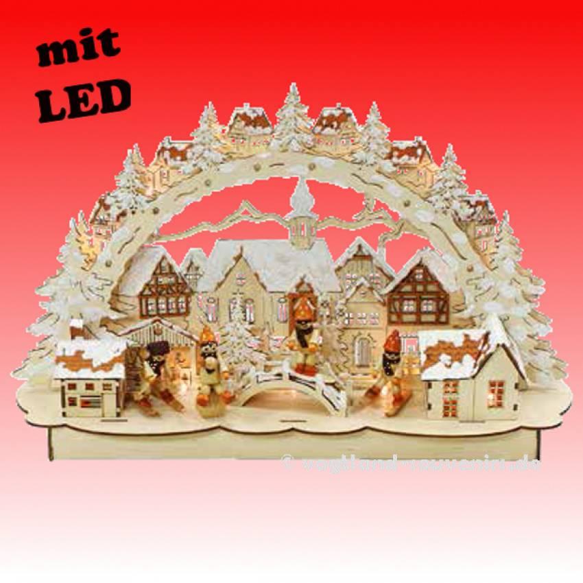 led lichterbogen schwibbogen 3d verschneite stadt 4 winterkinder schnee br cke. Black Bedroom Furniture Sets. Home Design Ideas