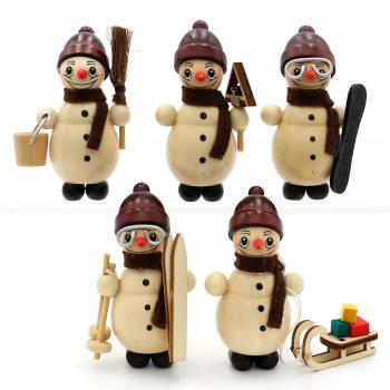 Schneemann-Miniaturen zum basteln oder erweitern Figuren Holz Erzgebirge Vogtlan
