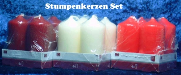 4 er Set Stumpenkerze in 3 Farben