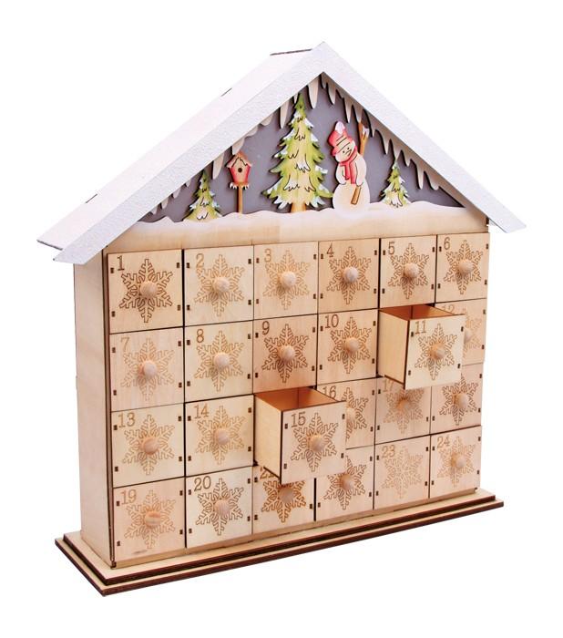 adventskalender zum selbstbef llen mit beleuchtung im dach. Black Bedroom Furniture Sets. Home Design Ideas