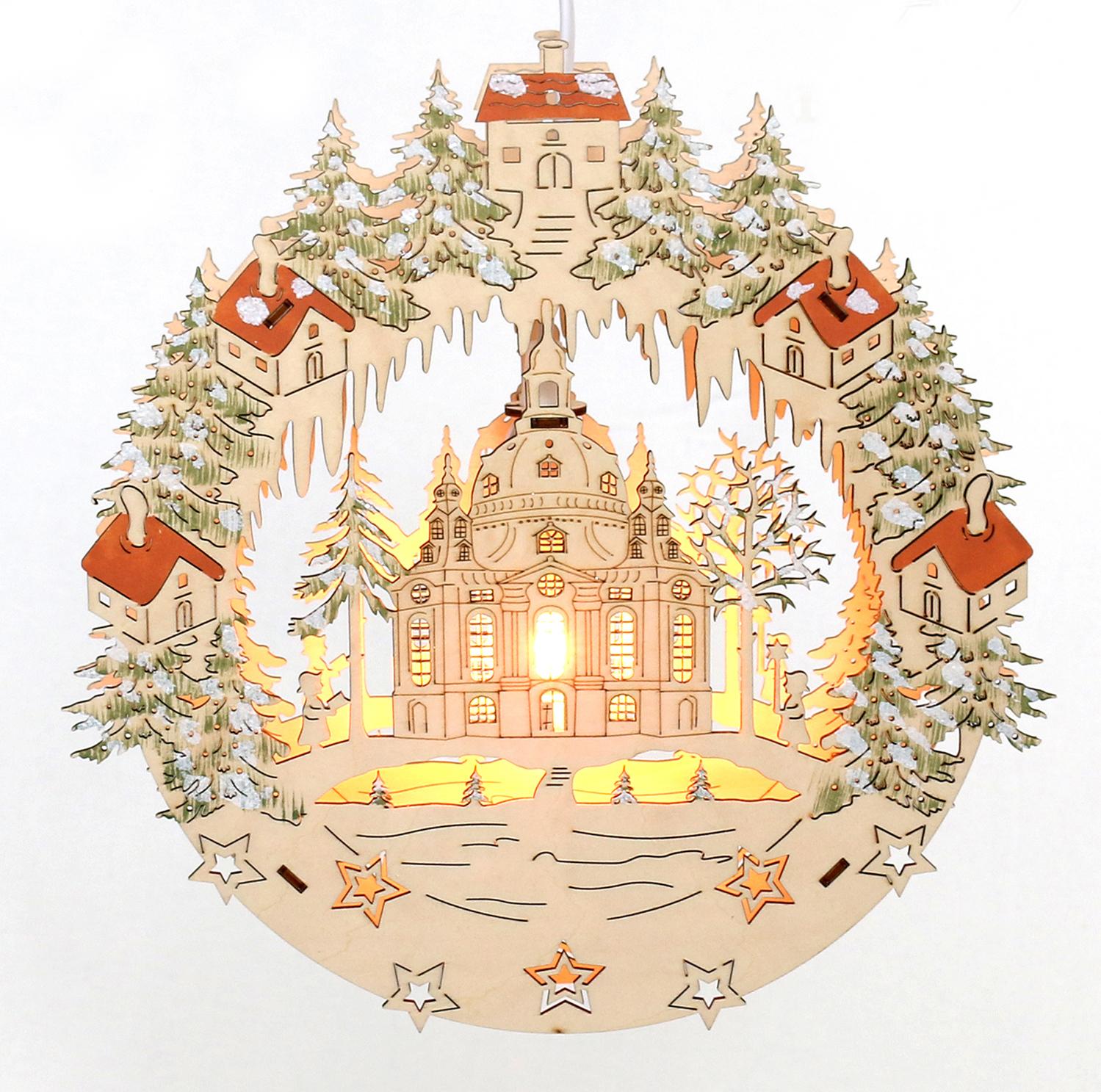 Fensterbild beleuchtet dresdener frauenkirche farbig - Fensterdeko weihnachten beleuchtet ...