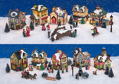 weihnachtsdorf lichterh user keramik komplettstet mit figuren vogtland souvenir s. Black Bedroom Furniture Sets. Home Design Ideas